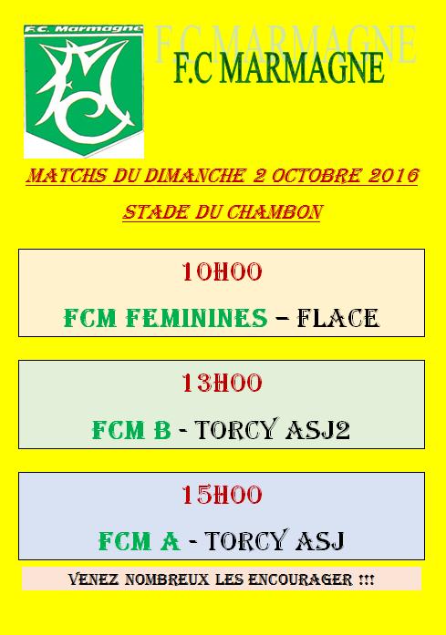 Matchs du dimanche 2 octobre