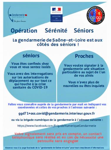 Opération sérénité séniors de la gendarmerie