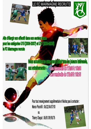 Le FC Marmagne recrute pour la saison 2020/2021