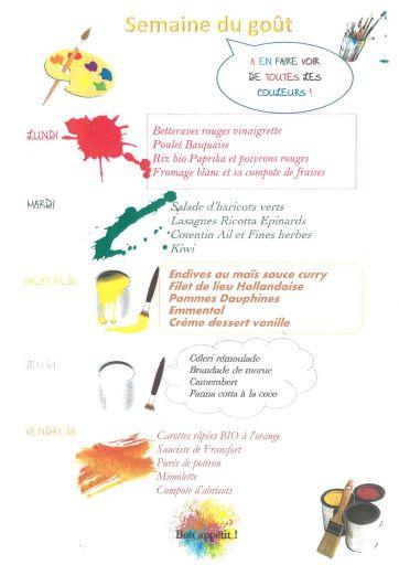 Semaine du goût à la cantine du 12 au 17 octobre